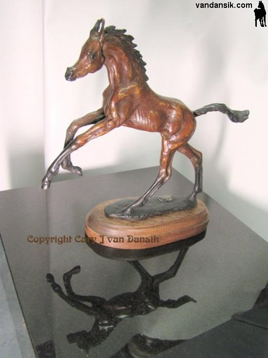 Bronze Horses,mini desksize Jumping Arabian Filly